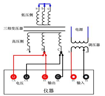 """""""y""""型三相变压器试验bc相接线图"""